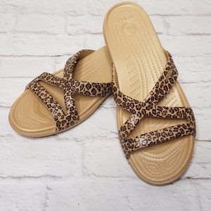 Crocs Leopard Sandals Size 11